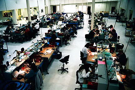 People working on the manufacturing floor at Data Cable.